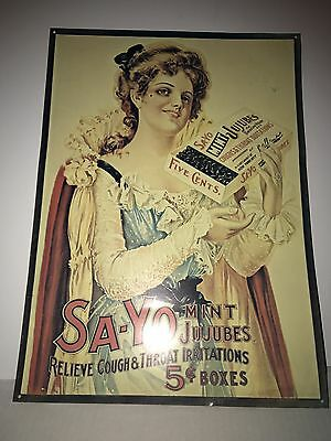Vintage lady Tin Advertisement Say-yo Mint Jujubes Relieves Throat 5 Cents