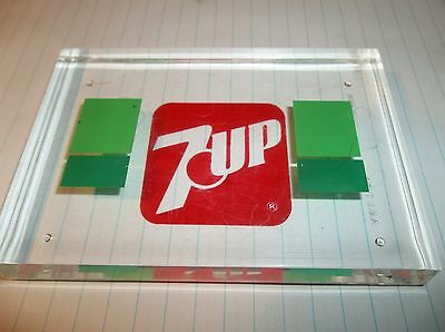 "Acrylic 7 Up Beverage Soda Advertisement Smaller 4"" Trinket Clear Paper Weight ?"