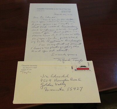 Telford Taylor Hand Signed Letter...Counsel For The Prosecution Nuremberg Trials