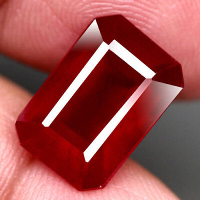 8.13Ct.gorgeous! Octagon Facet Top Blood Red Natural Ruby Madagascar Nr!