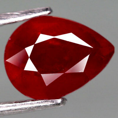 2.60Ct.lovely! Pear Facet Top Blood Red Natural Ruby Madagascar