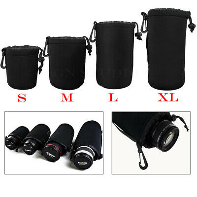 4x Neoprene Soft Camera Lens Pouch Protector Case Bag for Canon Sony Nikon DSLR