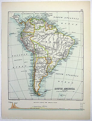 Original 1893 Map of South America by J. Bartholomew