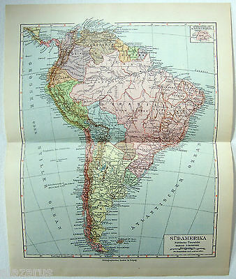 Original 1924 German Map of South America by Meyers