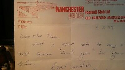 letter from matin bucan hand written on man united headed paper good conditio