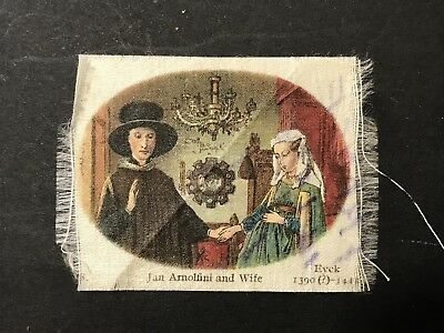 Silk Cigarette Card Eyck Art JAN ARNOLFINI & WIFE, Note from WWI Soldier on Rear