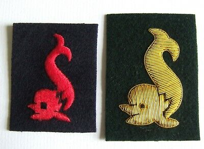 CANADA ROYAL CANADIAN NAVY SUBMARINE DOLPHIN OFFICERS & RATINGS BADGES x 2