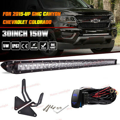 """30"""" 150W LED Light Bar +Lower Bumper Mounting For 15+ GMC Canyon Chevy Colorado"""