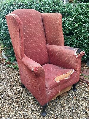 Large Early 19Thc Winged High Back Armchair For Reupholstering