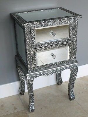 Embossed Mirrored Bedside Table 2 Drawer End Table Side Table Silver Cabinet