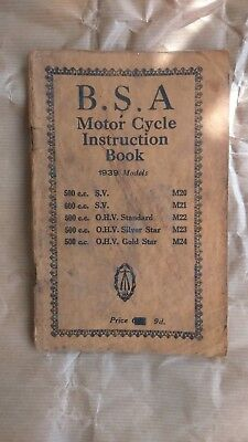 Genuine 1939 BSA M20, M21, M23, M24, Motor Cycle Instruction Book