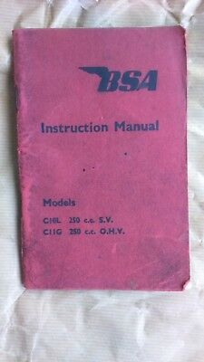 Genuine 1956 BSA C10, C11G, Motor Cycle Instruction Book