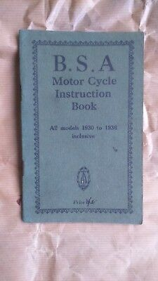 Genuine 1930-1936 Inclusive Motor Cycle Instruction Book