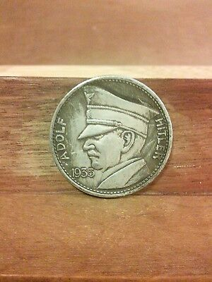 Adolf Hitler Nazi Germany Commemorative Exonumia Coin 1935 - 5 Rm.-Free Shipping