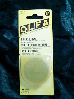 OLFA 45mm Rotary Cutter Blades 5 Pack New For Quilting / Genuine Olfa Quality