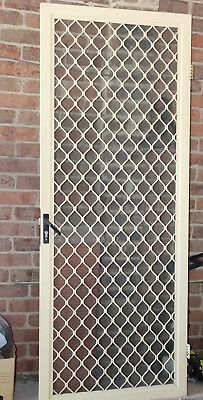 Cream Security Door with fly wire mesh with keys