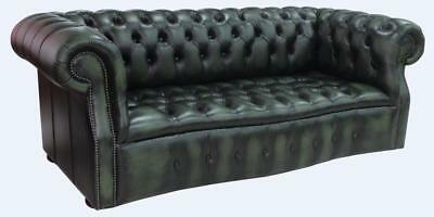Chesterfield Darcy 3 Seater Buttoned Seat Antique Green Leather Sofa Settee