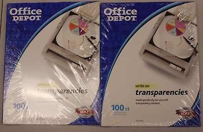 Lot of 2 Office Depot Black & White Copier Transparencies 100 Ct New Sealed