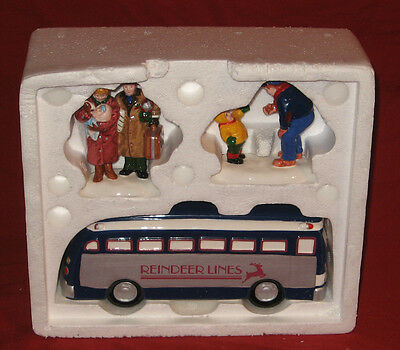"Department 56 Snow Village ""A Ride On The Reindeer Lines"" NIB"