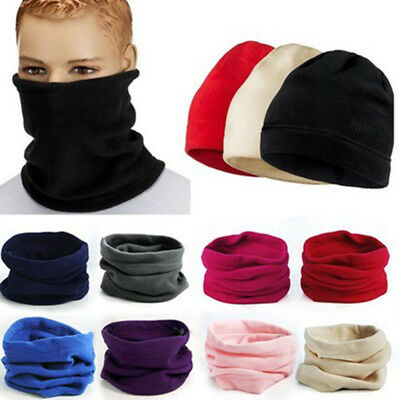 Men Womens Thermal Fleece Beanie Hat Snood Scarf Neck Warmer Ski Balaclava Wraps