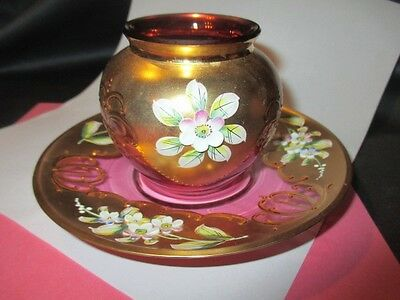 Bohemian Art Glass Pate Flowers Heavy Gold Rose Cranberry Toothpick Vase & Plate