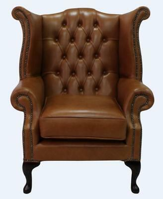 Chesterfield Armchair Queen Anne High Back Wing Chair Bruciato Brown Leather