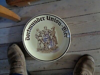 Dortmunder Union bier reclame bord assiette beer sign plate made Western Germany