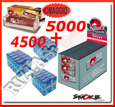 5000 Cartine ENJOY FREEDOM SILVER CORTE e 4500 Filtri RIZLA SLIM 6mm + ROLLATORE