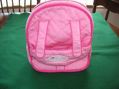 American Girl Bitty Baby Pink Quilted Childs Backpack Baby Carrier. Guc. Retired