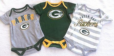 Infant Size 0-3M 3-Pack Nfl Green Bay Packers Bodysuits Romper Set Nwt