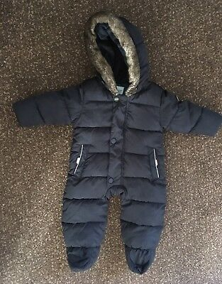 Used Baby Boys Ted Baker Navy Blue Snowsuit  size 3-6 months (good condition)