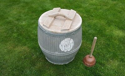 Galvanised steel washing/laundry Tub, lid and Dolly.
