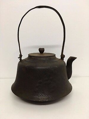 Large Signed 19 Th Century Japanese Cast Iron Tea Pot Cattle Impressive Mark