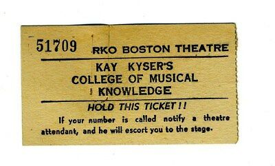 1941 Kay Kyser College of Musical Knowledge Ticket RKO Boston Theatre