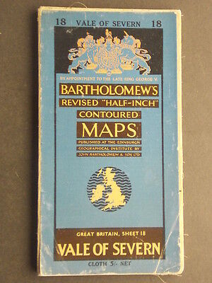 Bartholomew's Revised Half-Inch Contoured map Vale of Severn Sheet 18 1959