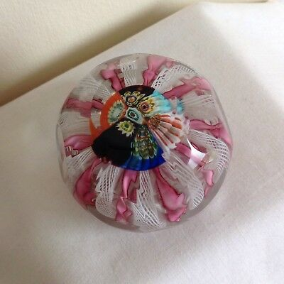 Vintage Venetian Murano Millefiori And Latticino Faceted Glass Paperweight