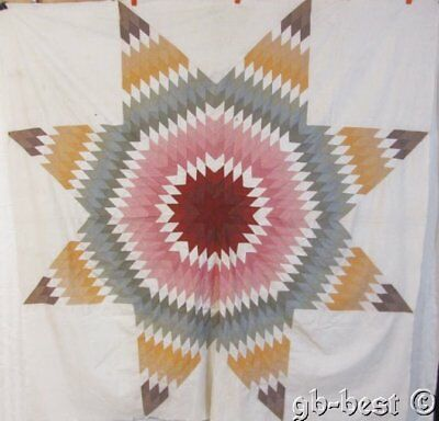 EARLY c 1860s Lone Star ANTIQUE Quilt Top BLUES Super prints!