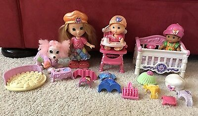 Fisher Price Snap N Style Dolls 1 Girl & 2 Babies, Dog & 24 Clothes Accessories