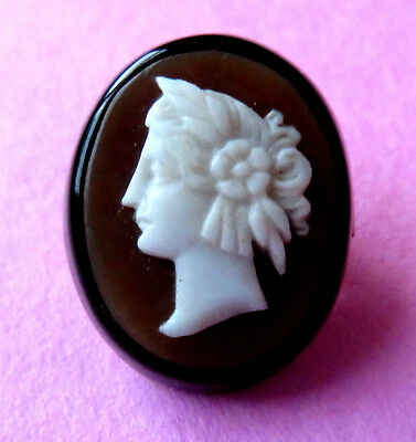 Antique,victorian  Jet & Shell Cameo Stud  Button,