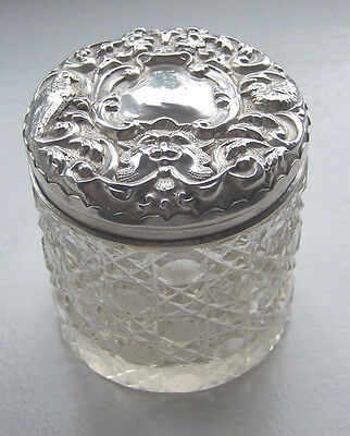 Edwardian Cut Glass Dressing Table Jar With Embossed Solid Silver Cover