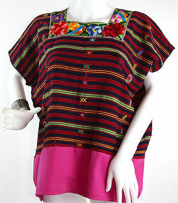 Vintage Handwoven Guatemala Huipil with Horizontal Weaving, Floral Embroidery