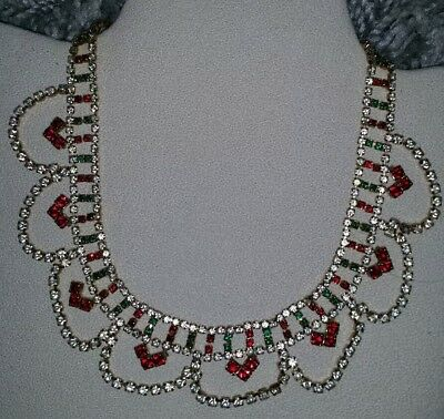 Vintage 80s red green & clear sparkling faceted diamanté necklace. Christmas.