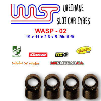 WASP 02- Urethane Slot Car Tyres x8 - Scalex, Slot-it, Racer SW, MR slotcar