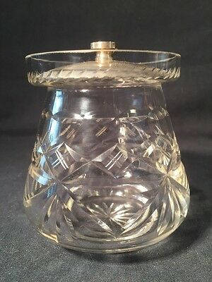 Vintage Glass Preserve Pot With Silver Plated Lid (ref W580)