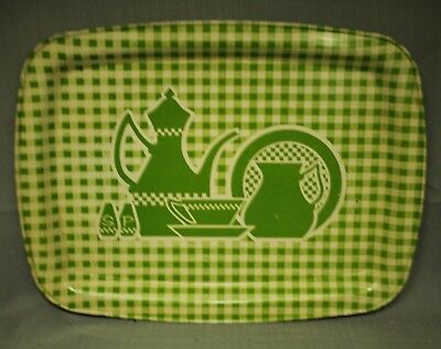 vintage old Green plaid metal tin serving tray w/ S&p shaker coffee pot teacup
