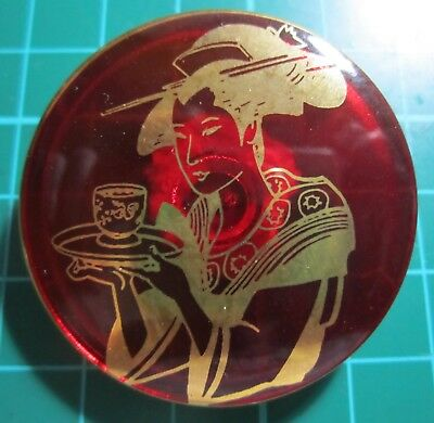 Red Glass button with a Gold Geisha Girl - Large
