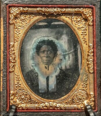 9th Plate Ruby Ambrotype Of African American Woman, Copy of Daguerreotype