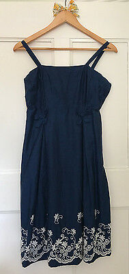 True Vintage Floral Embroidered Dress / Sundress Navy - Size XS / S / 8 / 10
