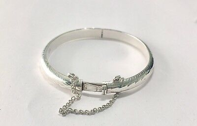 925 Sterling Silver Hinged Lock Patterned/christening/gift Baby Bangle/boxed