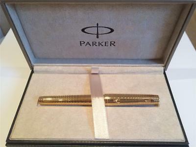 NOS Parker Premier Deluxe 23K Gold Plated Fountain Pen With 18K Solid Gold M Nib